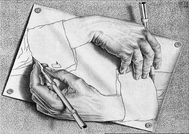 mãos que se desenham (1948), de escher